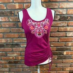 Athleta Embroidered Cairn Ruched Tank Top